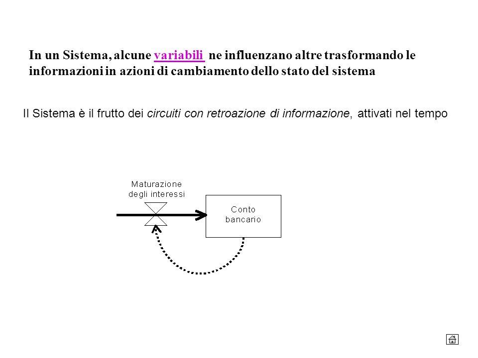 In un Sistema, alcune variabili ne influenzano altre trasformando le informazioni in azioni di cambiamento dello stato del sistema