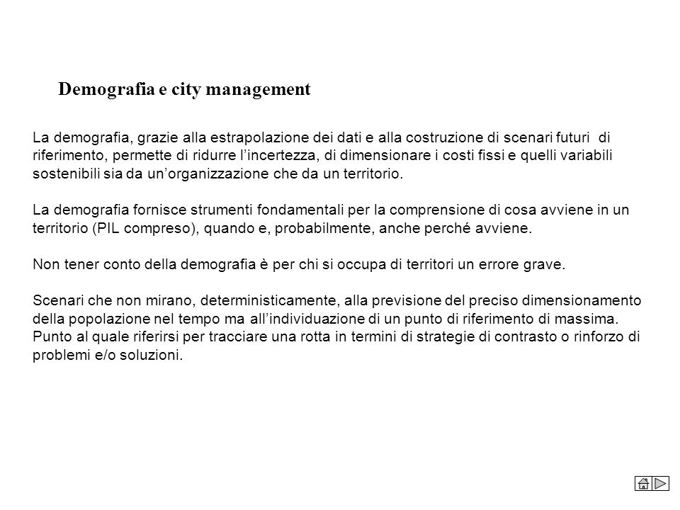 Demografia e city management