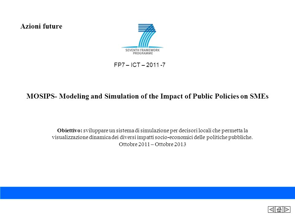 Azioni future FP7 – ICT – 2011 -7. MOSIPS- Modeling and Simulation of the Impact of Public Policies on SMEs.
