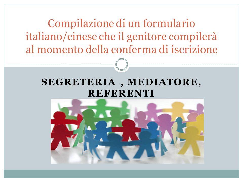 Segreteria , mediatore, referenti