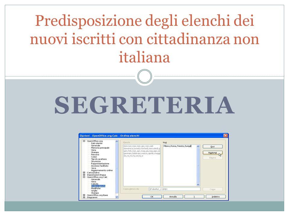 Predisposizione degli elenchi dei nuovi iscritti con cittadinanza non italiana