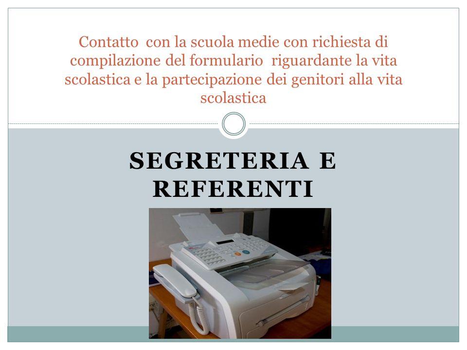 Segreteria e referenti