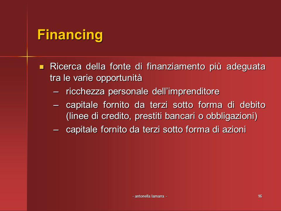 Financing Ricerca della fonte di finanziamento più adeguata tra le varie opportunità. ricchezza personale dell'imprenditore.