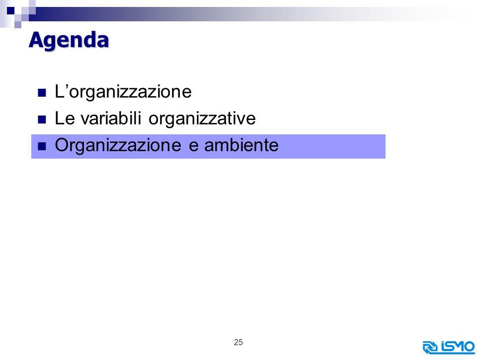 Agenda L'organizzazione Le variabili organizzative