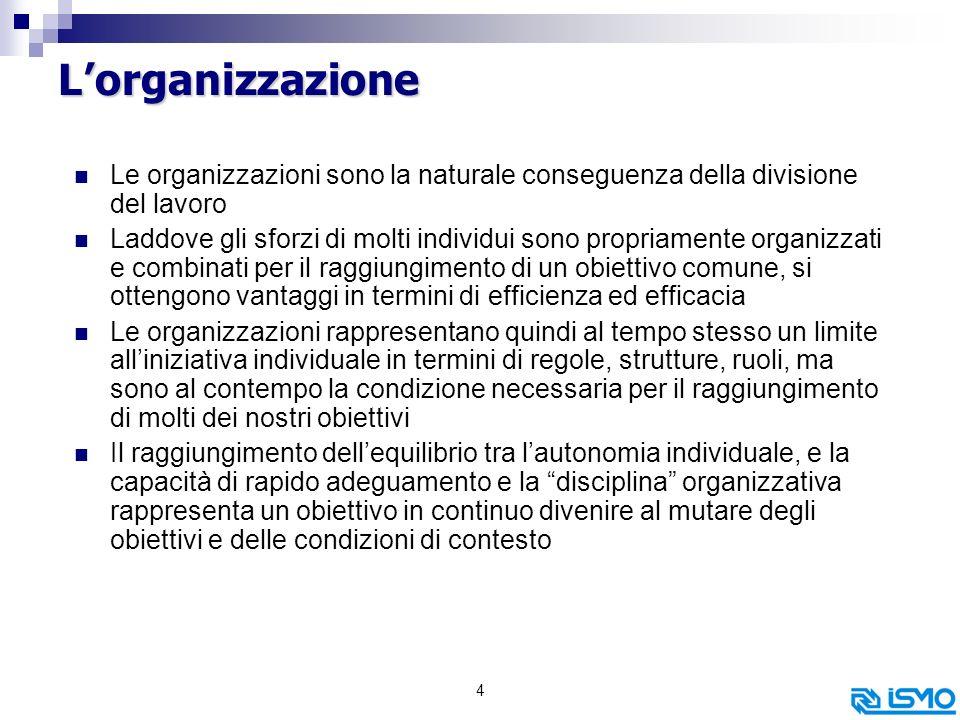 L'organizzazione Le organizzazioni sono la naturale conseguenza della divisione del lavoro.