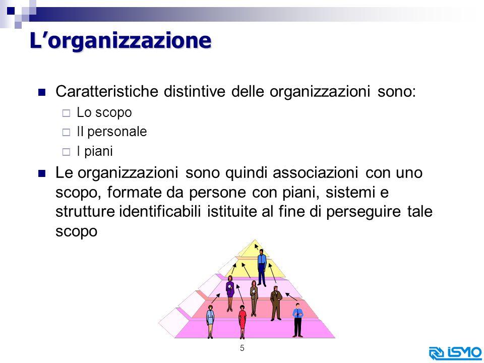 L'organizzazione Caratteristiche distintive delle organizzazioni sono: