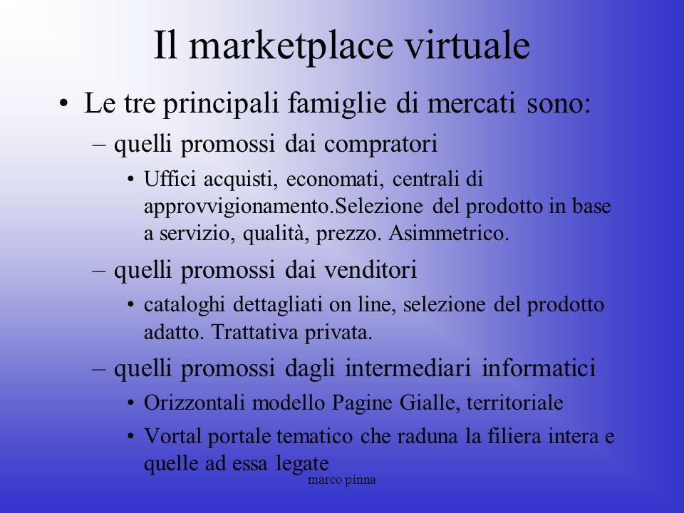 Il marketplace virtuale