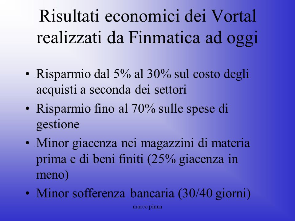 Risultati economici dei Vortal realizzati da Finmatica ad oggi