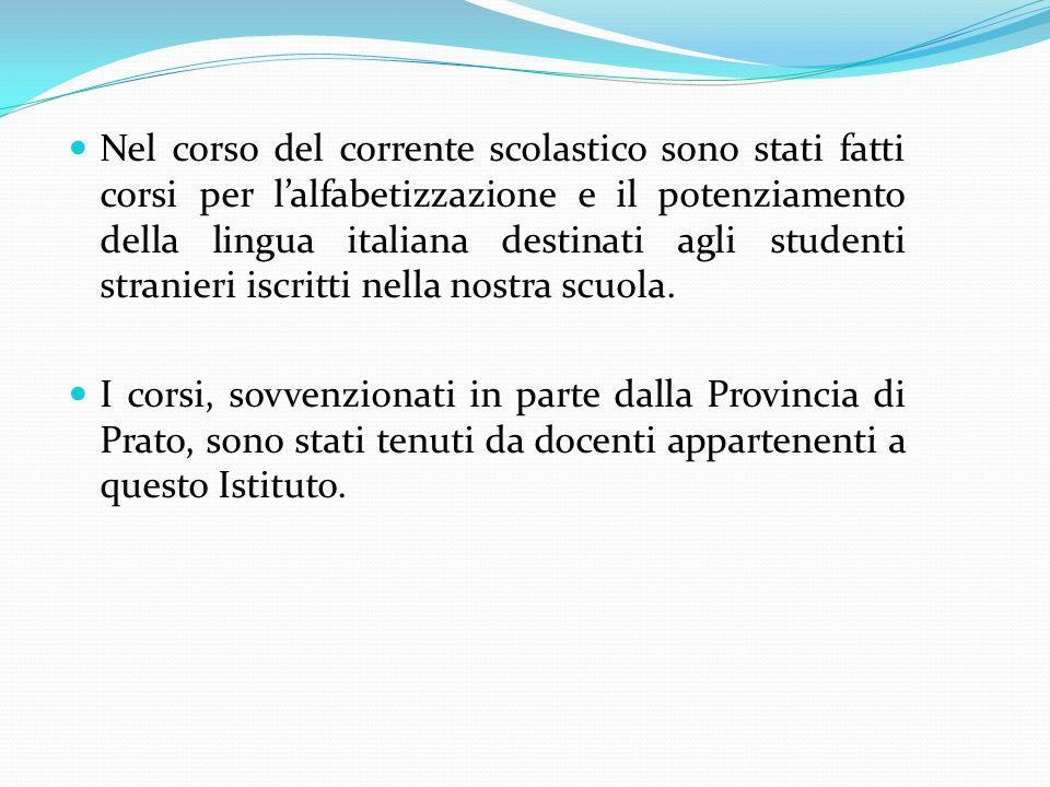 Nel corso del corrente scolastico sono stati fatti corsi per l'alfabetizzazione e il potenziamento della lingua italiana destinati agli studenti stranieri iscritti nella nostra scuola.