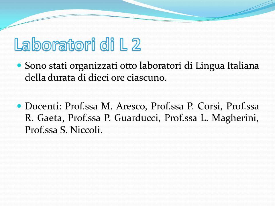 Laboratori di L 2Sono stati organizzati otto laboratori di Lingua Italiana della durata di dieci ore ciascuno.