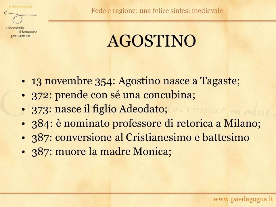 AGOSTINO 13 novembre 354: Agostino nasce a Tagaste;
