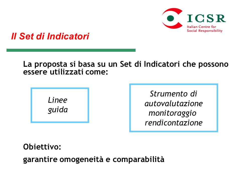 Il Set di IndicatoriLa proposta si basa su un Set di Indicatori che possono essere utilizzati come:
