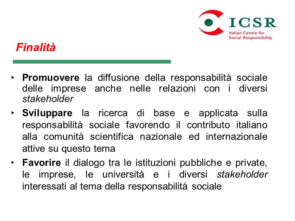 FinalitàPromuovere la diffusione della responsabilità sociale delle imprese anche nelle relazioni con i diversi stakeholder.