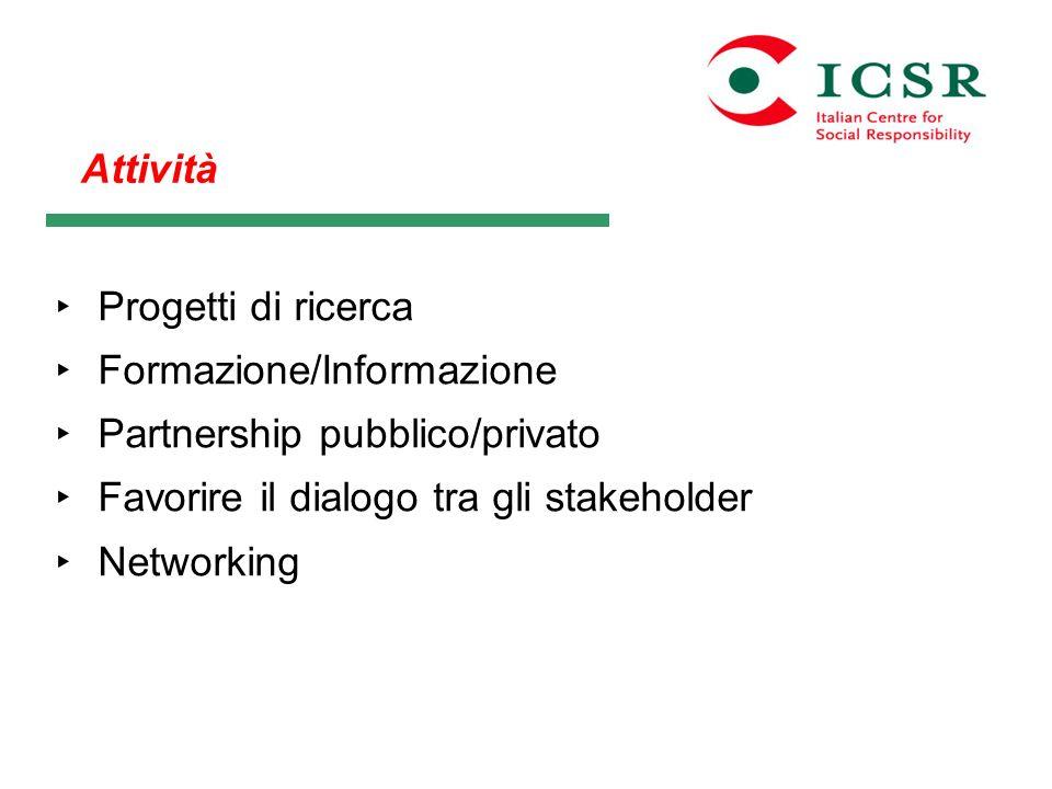 AttivitàProgetti di ricerca. Formazione/Informazione. Partnership pubblico/privato. Favorire il dialogo tra gli stakeholder.