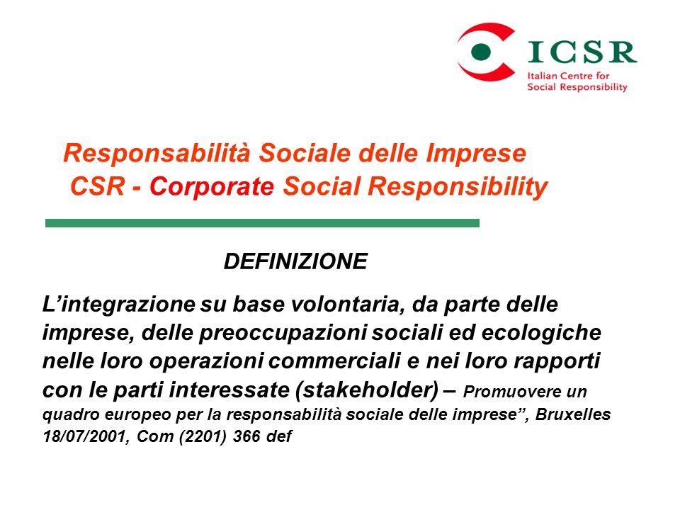 Responsabilità Sociale delle Imprese CSR - Corporate Social Responsibility