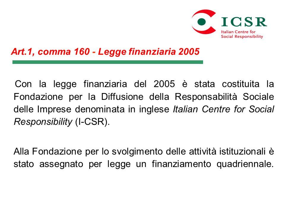 Art.1, comma 160 - Legge finanziaria 2005