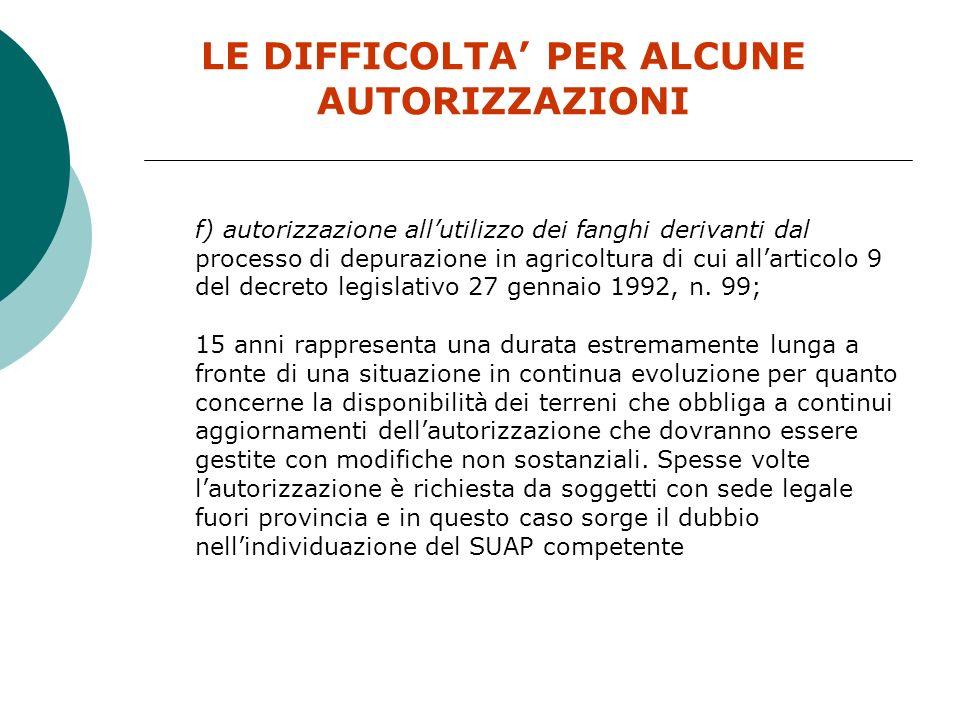 LE DIFFICOLTA' PER ALCUNE AUTORIZZAZIONI
