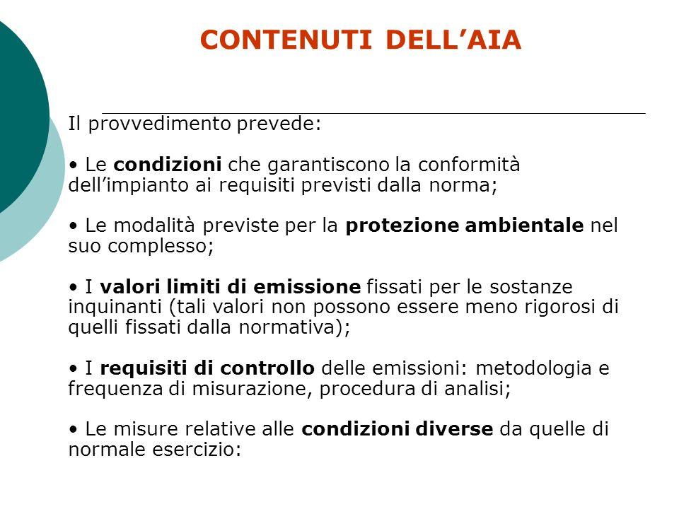 CONTENUTI DELL'AIA Il provvedimento prevede: