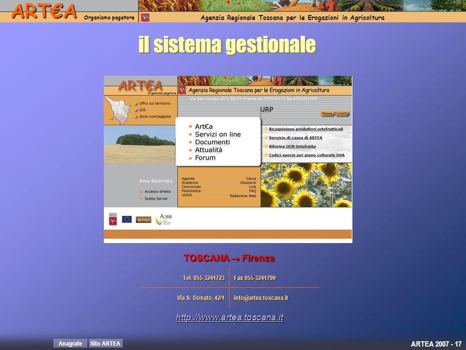il sistema gestionale TOSCANA  Firenze http://www.artea.toscana.it
