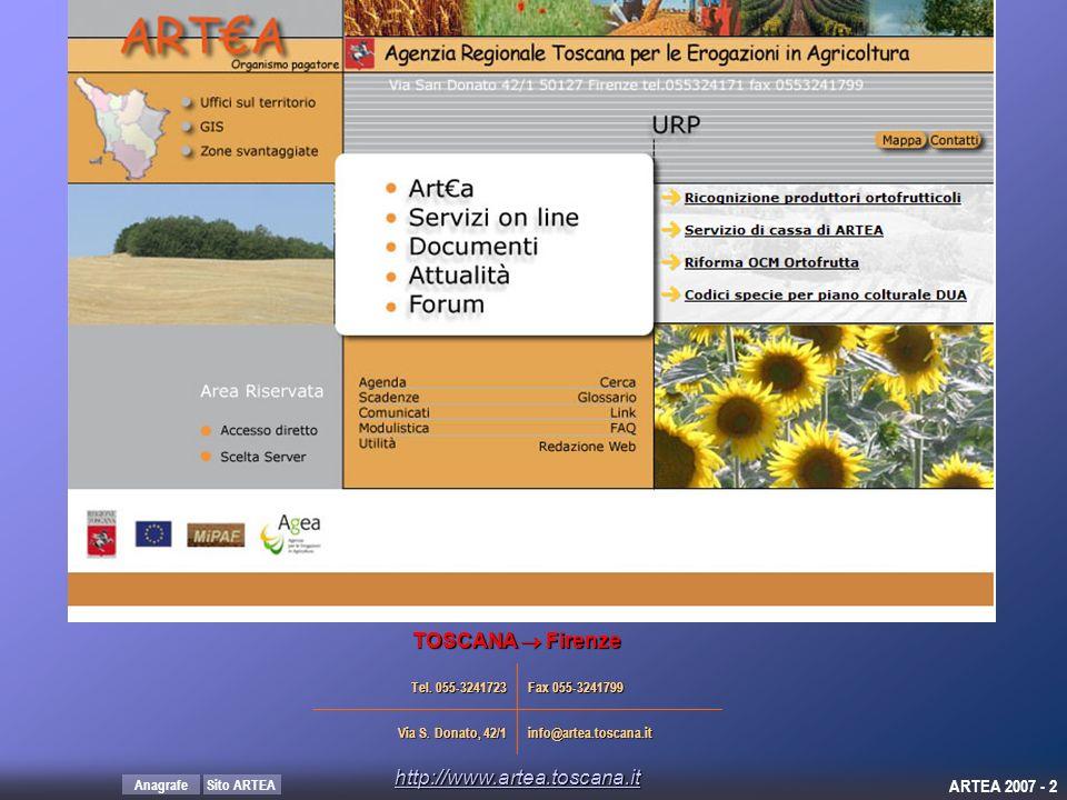 TOSCANA  Firenze http://www.artea.toscana.it Tel. 055-3241723