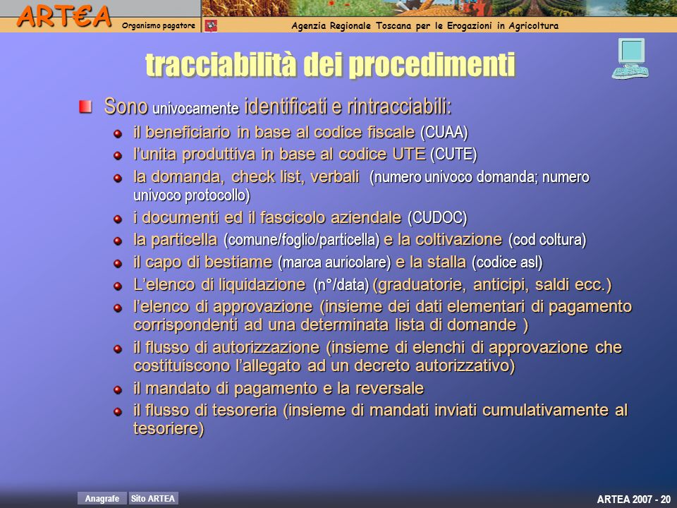 tracciabilità dei procedimenti