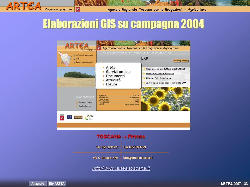 Elaborazioni GIS su campagna 2004