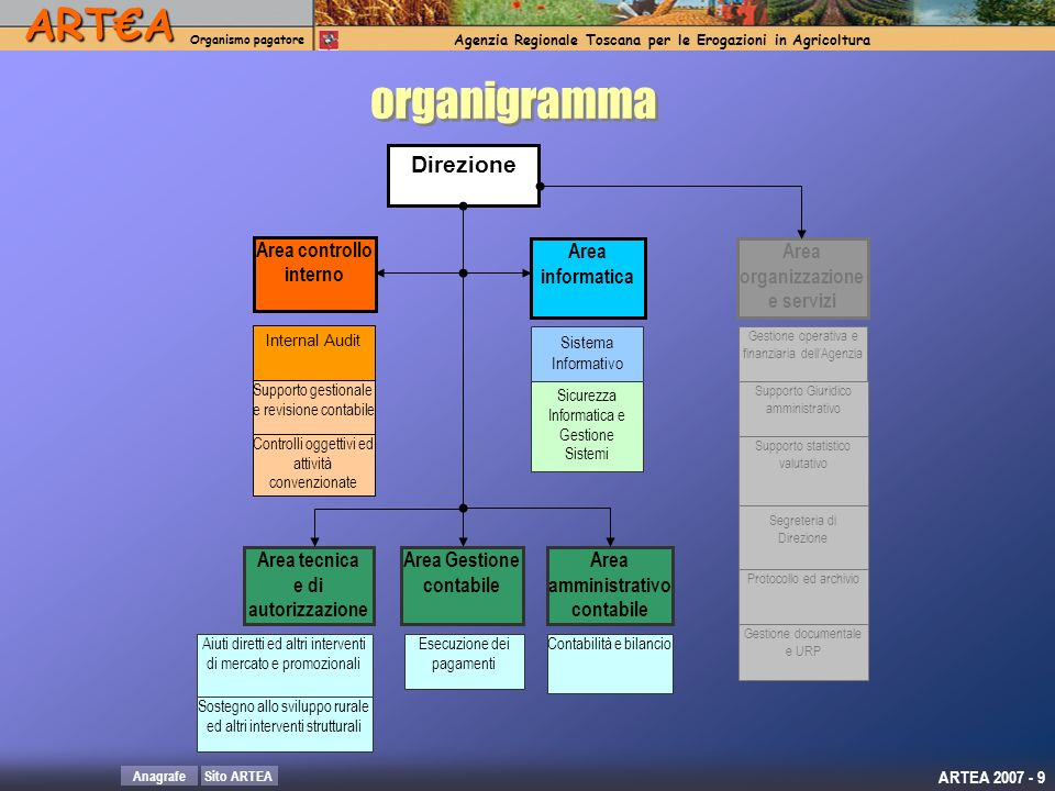 organigramma Direzione Area controllo interno Area informatica