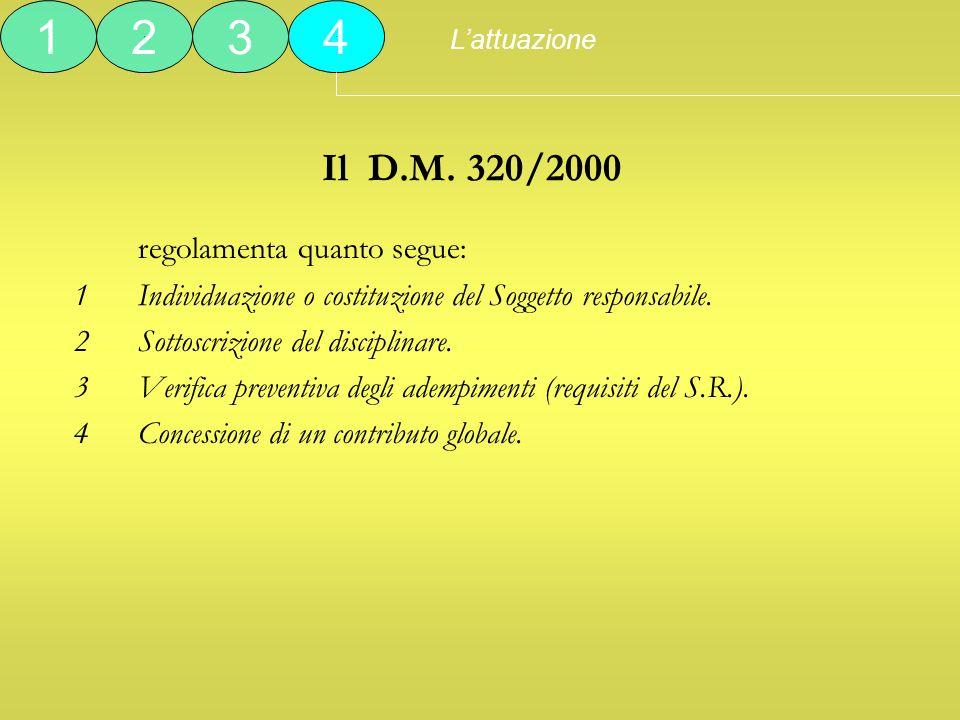 1 2 3 4 Il D.M. 320/2000 regolamenta quanto segue: