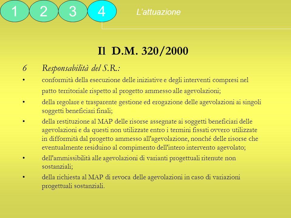 1 2 3 4 Il D.M. 320/2000 6 Responsabilità del S.R.: L'attuazione