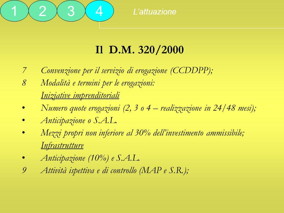 L'attuazione 1. 2. 3. 4. Il D.M. 320/2000. Convenzione per il servizio di erogazione (CCDDPP);