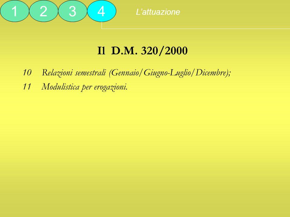 L'attuazione 1. 2. 3. 4. Il D.M. 320/2000. Relazioni semestrali (Gennaio/Giugno-Luglio/Dicembre);