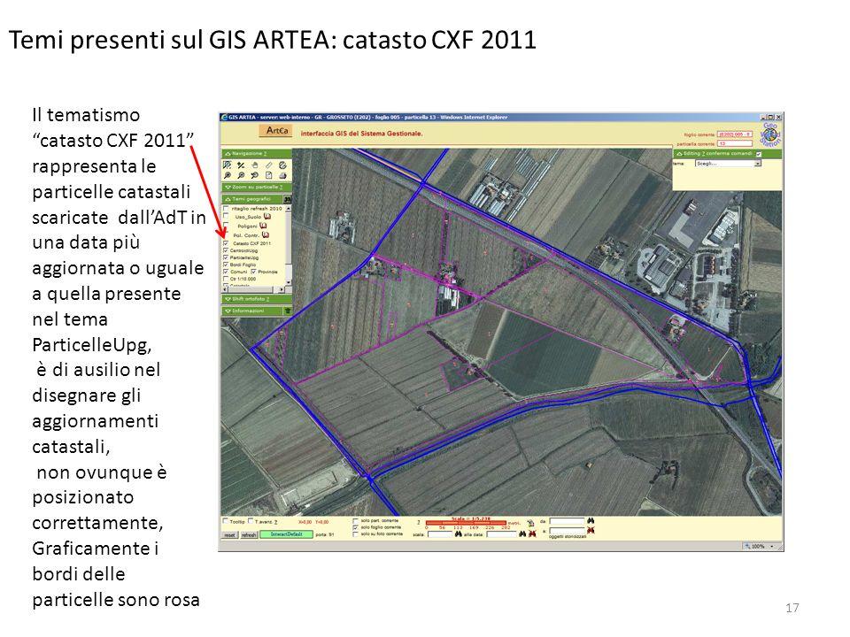 Temi presenti sul GIS ARTEA: catasto CXF 2011