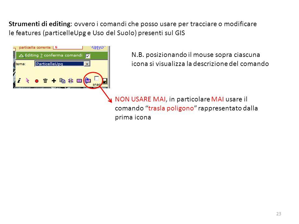 Strumenti di editing: ovvero i comandi che posso usare per tracciare o modificare le features (particelleUpg e Uso del Suolo) presenti sul GIS