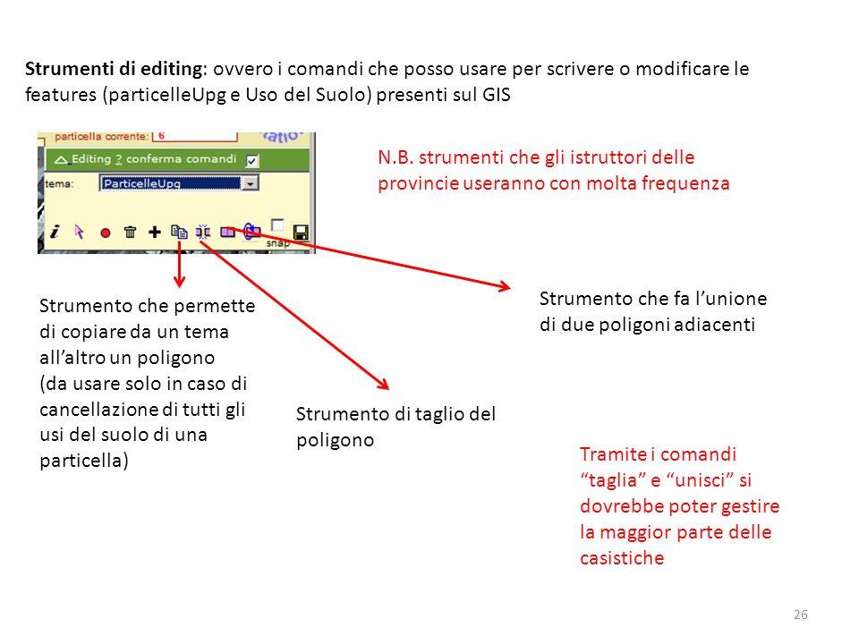 Strumenti di editing: ovvero i comandi che posso usare per scrivere o modificare le features (particelleUpg e Uso del Suolo) presenti sul GIS