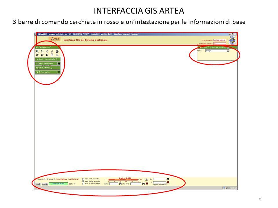 INTERFACCIA GIS ARTEA 3 barre di comando cerchiate in rosso e un'intestazione per le informazioni di base.