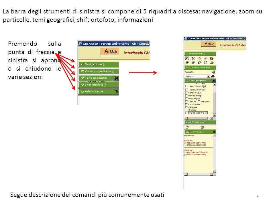La barra degli strumenti di sinistra si compone di 5 riquadri a discesa: navigazione, zoom su particelle, temi geografici, shift ortofoto, informazioni