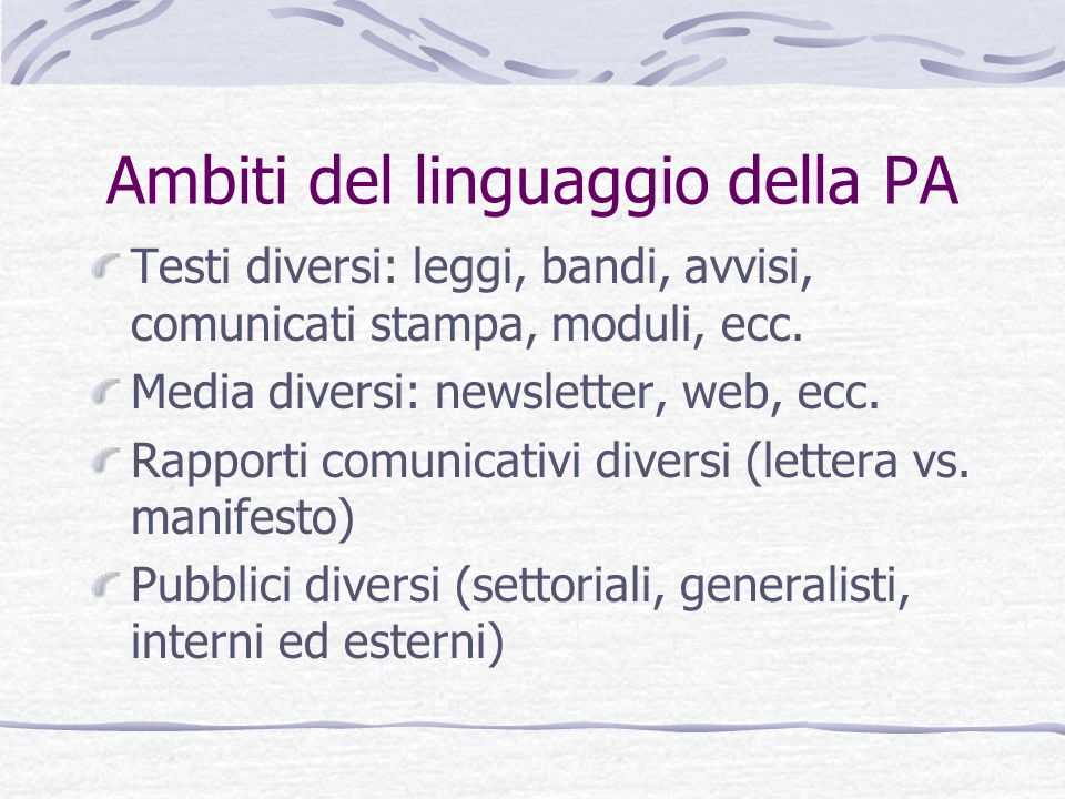 Ambiti del linguaggio della PA