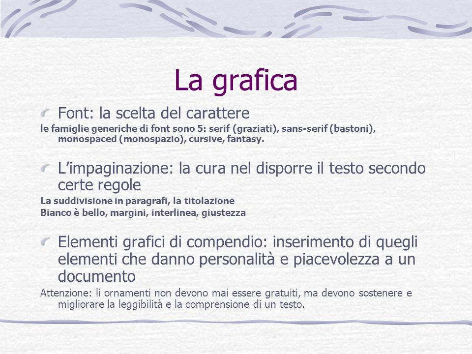 La grafica Font: la scelta del carattere