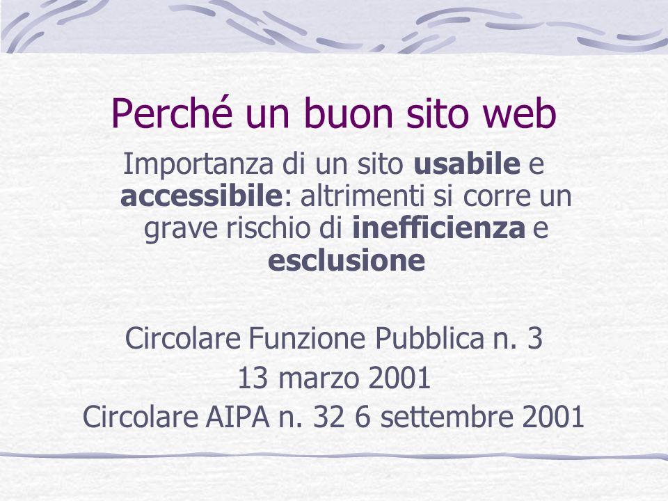 Perché un buon sito web Importanza di un sito usabile e accessibile: altrimenti si corre un grave rischio di inefficienza e esclusione.