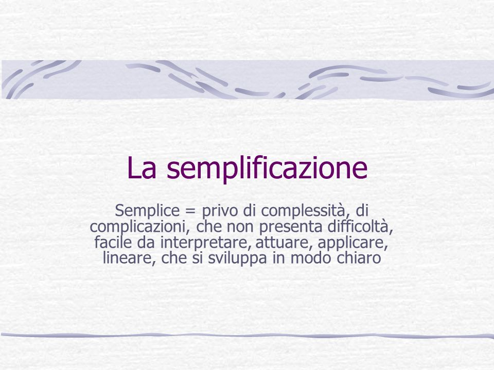 La semplificazione