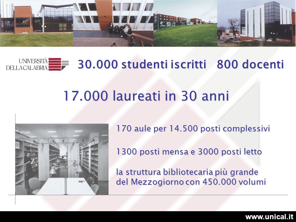 17.000 laureati in 30 anni 30.000 studenti iscritti 800 docenti