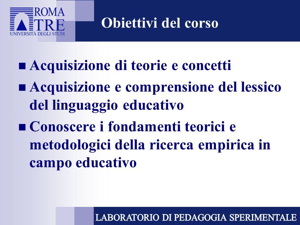 Obiettivi del corso Acquisizione di teorie e concetti. Acquisizione e comprensione del lessico del linguaggio educativo.