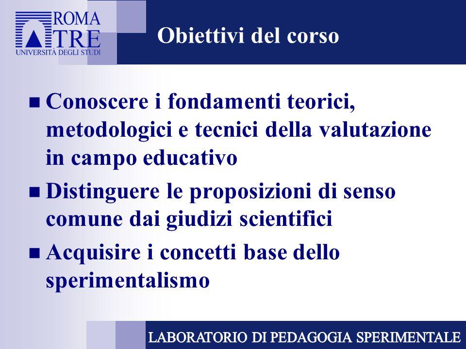 Obiettivi del corso Conoscere i fondamenti teorici, metodologici e tecnici della valutazione in campo educativo.