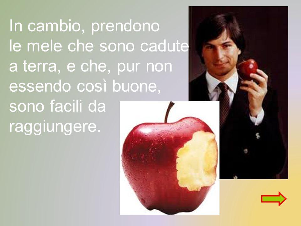 In cambio, prendono le mele che sono cadute a terra, e che, pur non essendo così buone, sono facili da raggiungere.