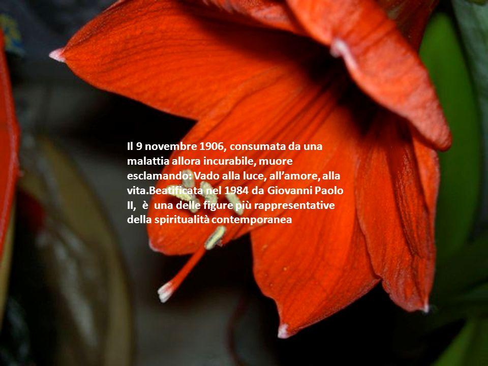 Il 9 novembre 1906, consumata da una malattia allora incurabile, muore esclamando: Vado alla luce, all'amore, alla vita.Beatificata nel 1984 da Giovanni Paolo II, è una delle figure più rappresentative della spiritualità contemporanea