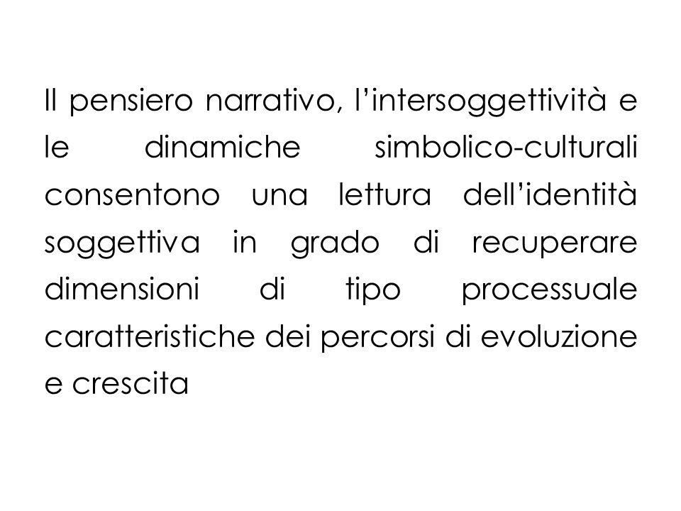 Il pensiero narrativo, l'intersoggettività e le dinamiche simbolico-culturali consentono una lettura dell'identità soggettiva in grado di recuperare dimensioni di tipo processuale caratteristiche dei percorsi di evoluzione e crescita