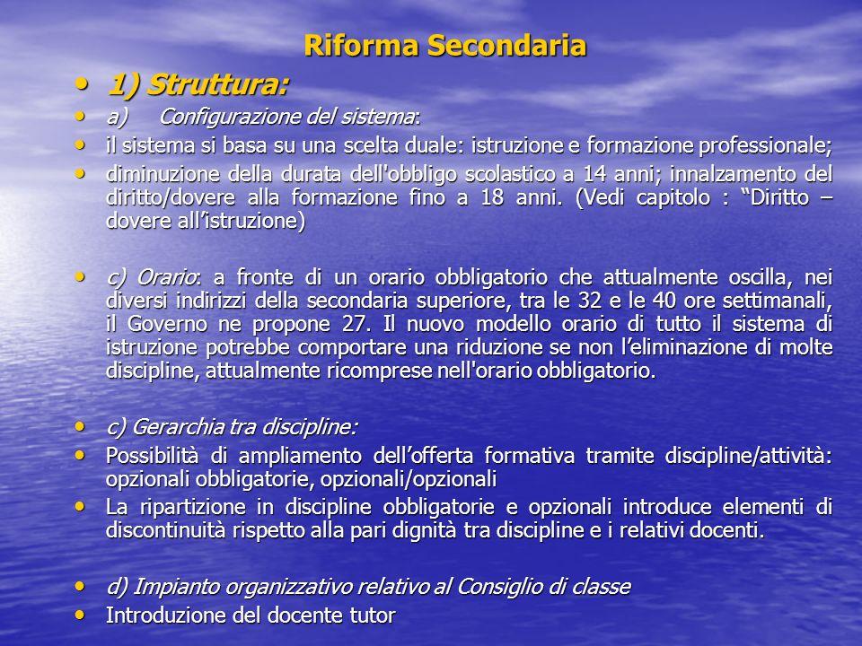 Riforma Secondaria 1) Struttura: a) Configurazione del sistema: