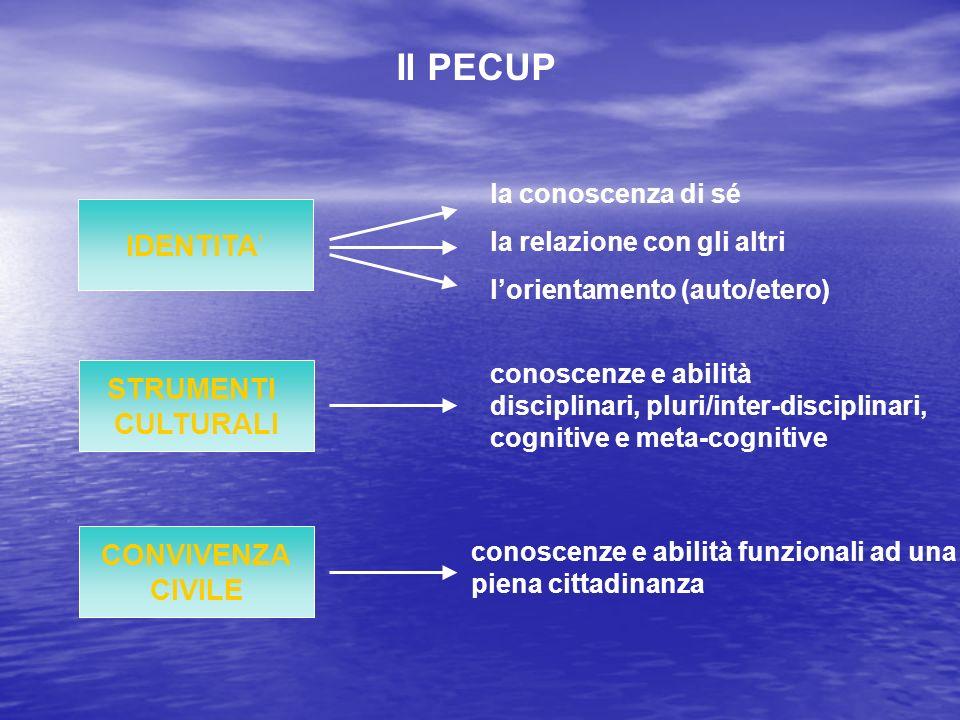 Il PECUP IDENTITA' STRUMENTI CULTURALI CONVIVENZA CIVILE