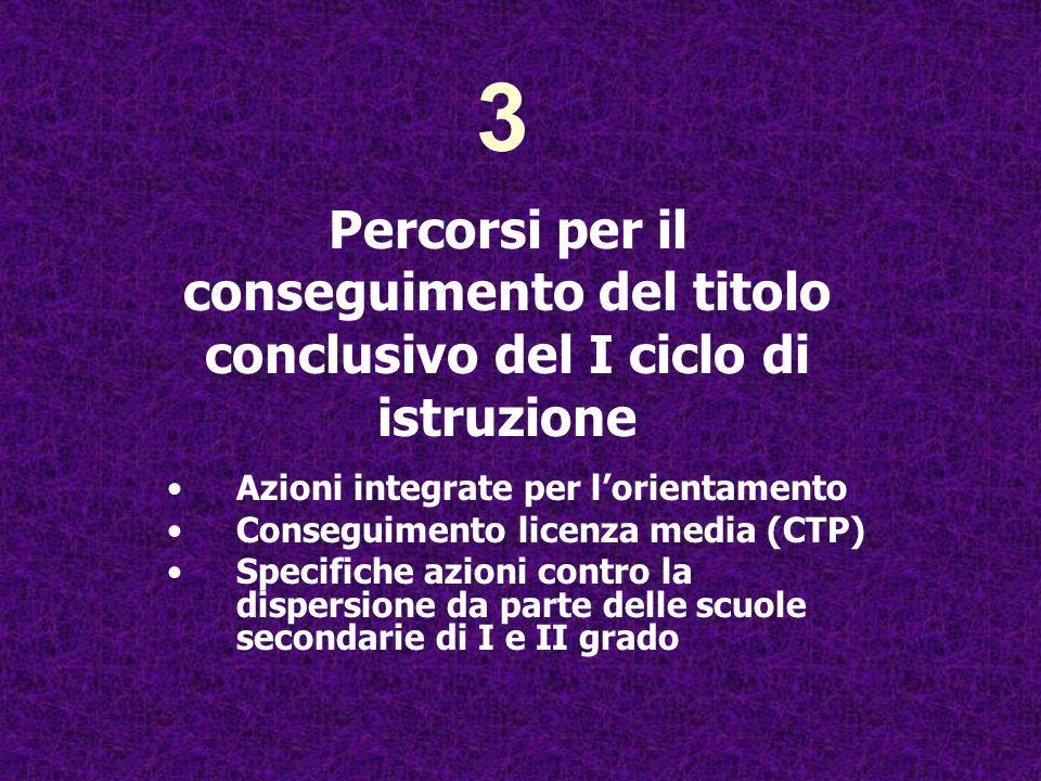 3 Percorsi per il conseguimento del titolo conclusivo del I ciclo di istruzione. Azioni integrate per l'orientamento.