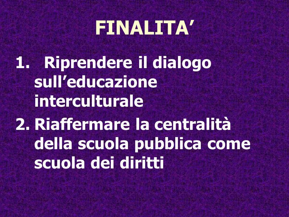 FINALITA' Riprendere il dialogo sull'educazione interculturale